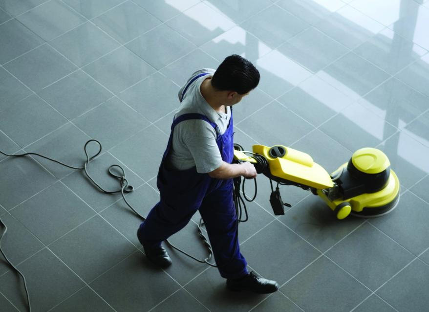 floor cleaning with modern machine